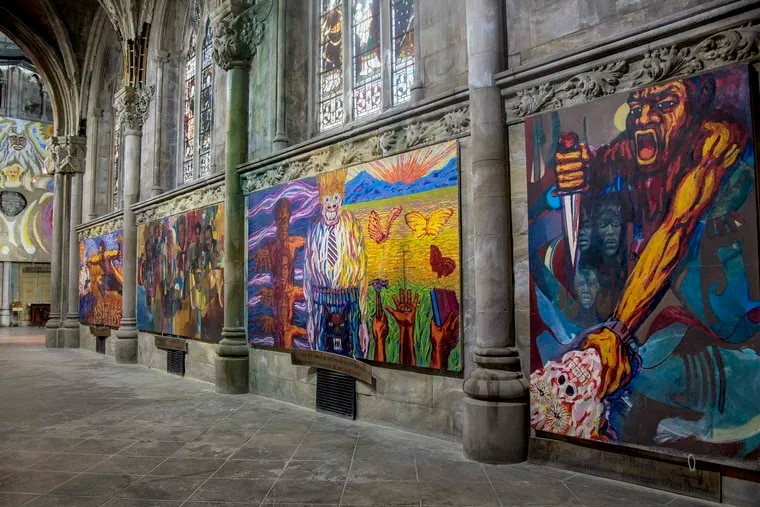 Paintings by artists Walter Edmonds and Richard Watson at the the Church of the Advocate.