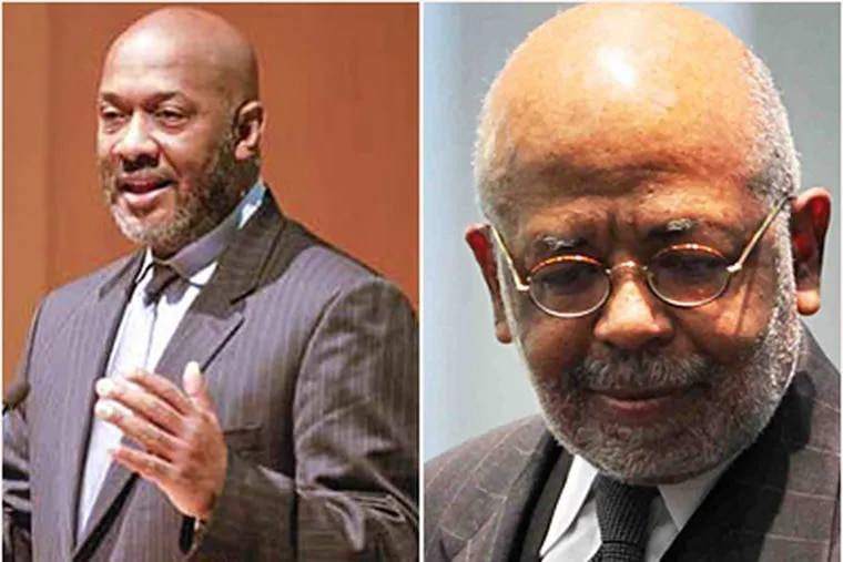 A controversy involving Rep. Dwight Evans, left, and School Reform Commission chairman Robert L. Archie Jr., right, has prompted a nonprofit to withdraw its bid to run MLKing High as a charter. (File)