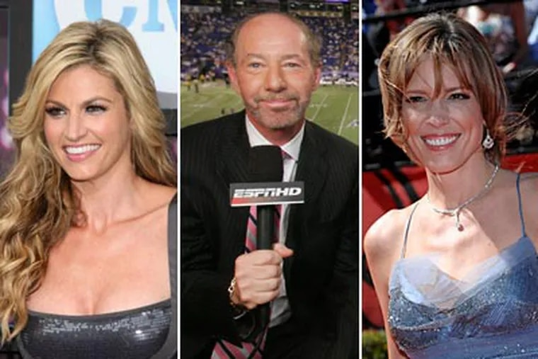 """Erin Andrews, Tony Kornheiser and Hannah Storm are among those mentioned in """"Those Guys Have All the Fun."""" (AP Photos)"""