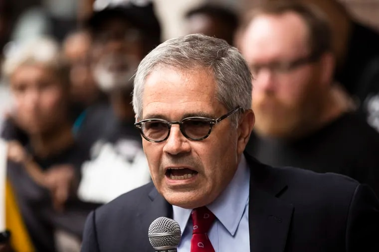 FILE - In this Thursday, Sept. 5, 2019, file photo, Philadelphia District Attorney Larry Krasner speaks outside the federal courthouse in Philadelphia. The Pennsylvania Supreme Court on Wednesday, Sept. 11, 2019, will consider whether the state's death penalty statute amounts to cruel, arbitrary punishment that's too often reserved for black and poor defendants. Krasner opposes capital punishment and is a driving force behind the court challenge. (AP Photo/Matt Rourke, File)