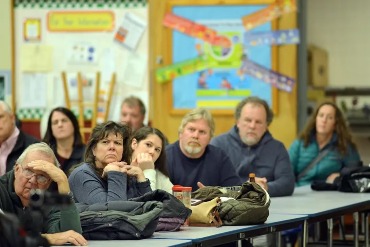 Residents listen to comments during a state Department of Environmental Protection public hearing on the Adelphia Gateway pipeline project's proposed compressor station on December 4, 2018 in West Rockhill, Pennsylvania. Residents of Upper Bucks County addressed representatives from the agency to comment about the station, which they say will ruin the pastoral nature of their rural area.