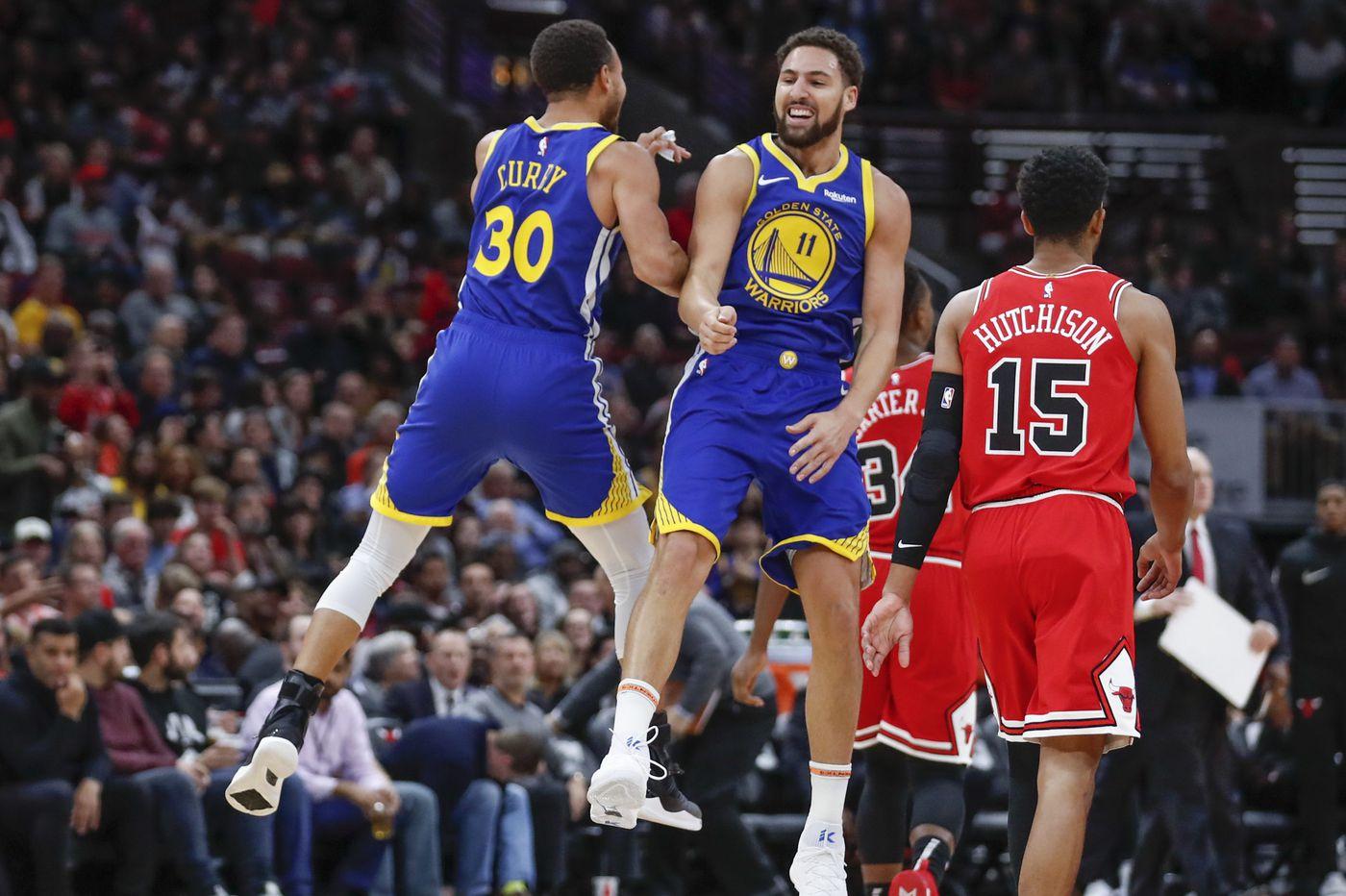 Klay Thompson sets three-point record, Warriors beat Bulls, 149-124