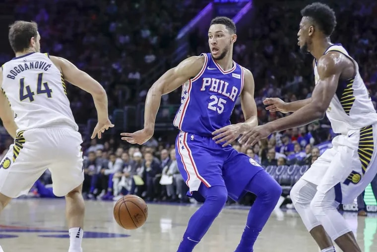 Sixers guard Ben Simmons passes, surrounded by Pacers forwards Thaddeus Young (right) and Bojan Bogdanovic on Friday.