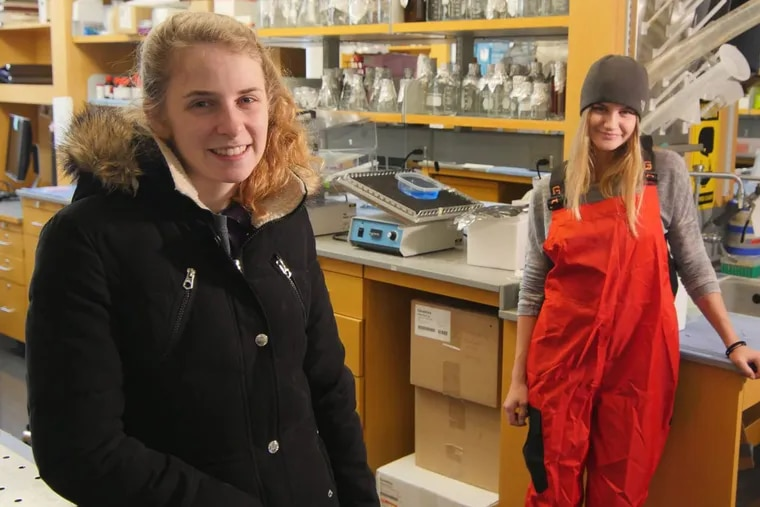 Rutgers University students Taylor Dodge, left, and her roommate, Rachael Young, are headed for opposite ends of Antarctica to study climate change.