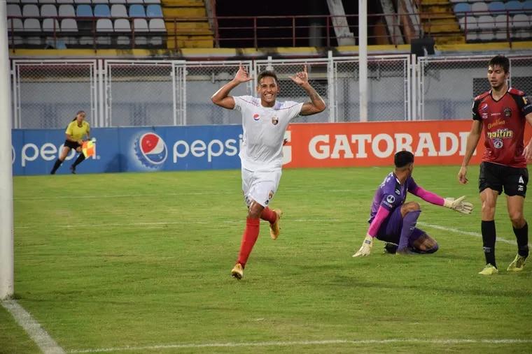 New Union player Jesus Bueno celebrates his goal for his previous club, Venezuela's Deportivo Lara.