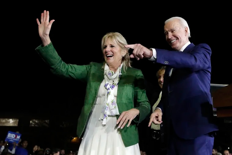 Democratic presidential candidate Joe Biden and his wife, Jill, attend a Super Tuesday rally in Los Angeles.