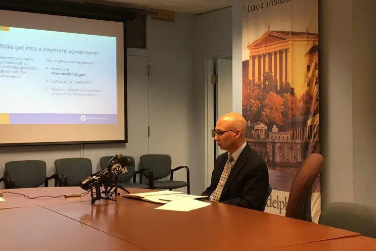 Philadelphia Revenue Commissioner and Chief Collections Officer Frank Breslin speaks at a news conference about tax collections