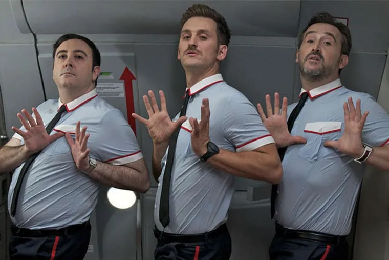 Gay stewards Fajas, Ulloa, and Joserra try to distract the airline passengers.