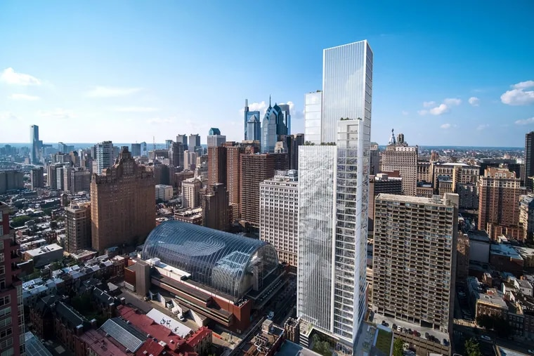 Artist's rendering of Philadelphia skyline with planned Arthaus condo building at Broad and Spruce Streets.