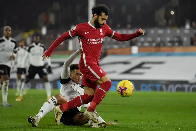 Mo Salah, center, leads Liverpool against Tottenham on Wednesday in a battle for first place in the English Premier League.