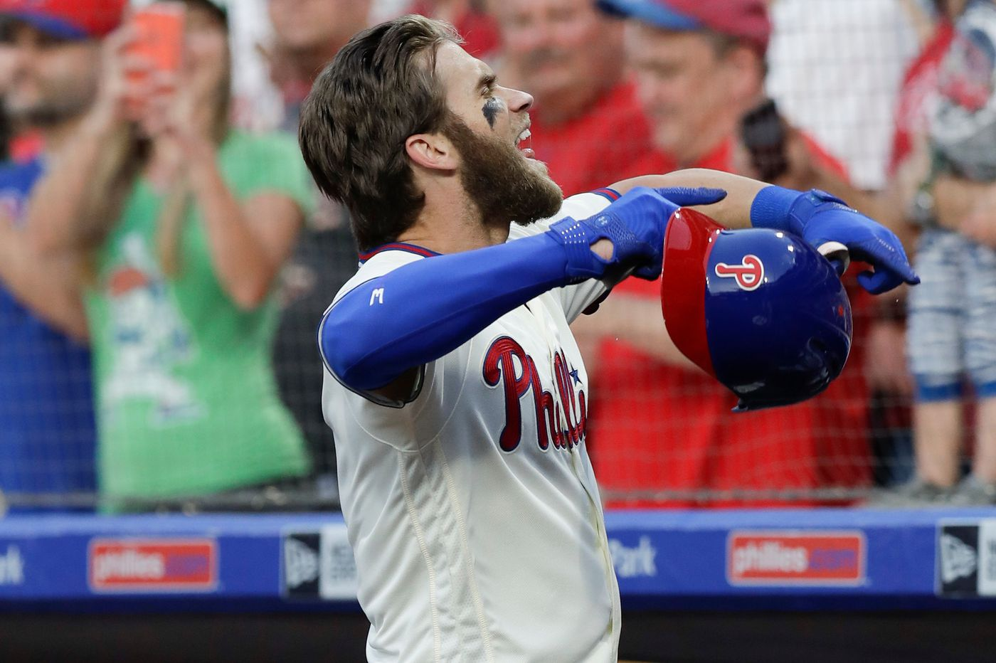 Bryce Harper crushes his first home run for the Phillies