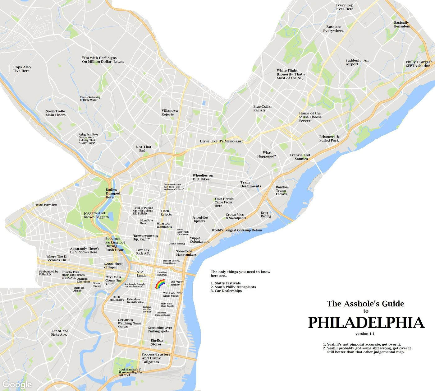 Map Of Philadelphia He made a map of Philly's jerks   but he didn't want to be a jerk  Map Of Philadelphia