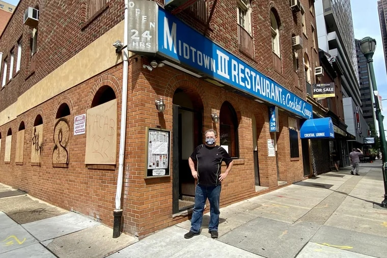 Coowner Ray Tafuri outside the shuttered Midtown III, at 28 S. 18th St., on Aug. 21, 2020.