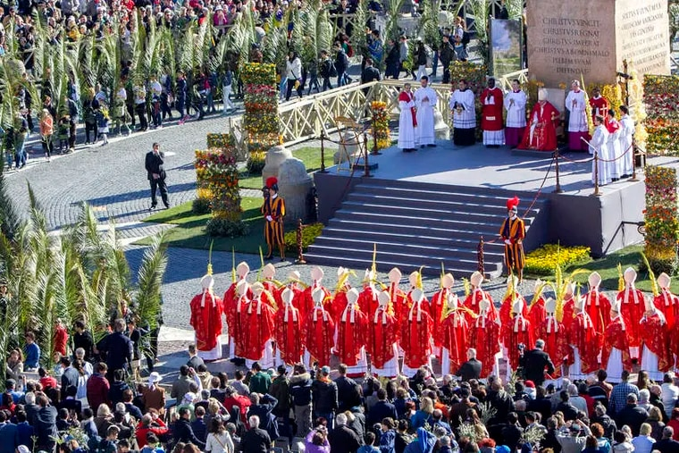 Palm fronds wave in St. Peter's Square as Pope Francis celebrates Mass amid tens of thousands of faithful at the Vatican, ushering in Holy Week, which ends with Easter. Christians also marked Palm Sunday with trips to the Holy Land. Story, A6.
