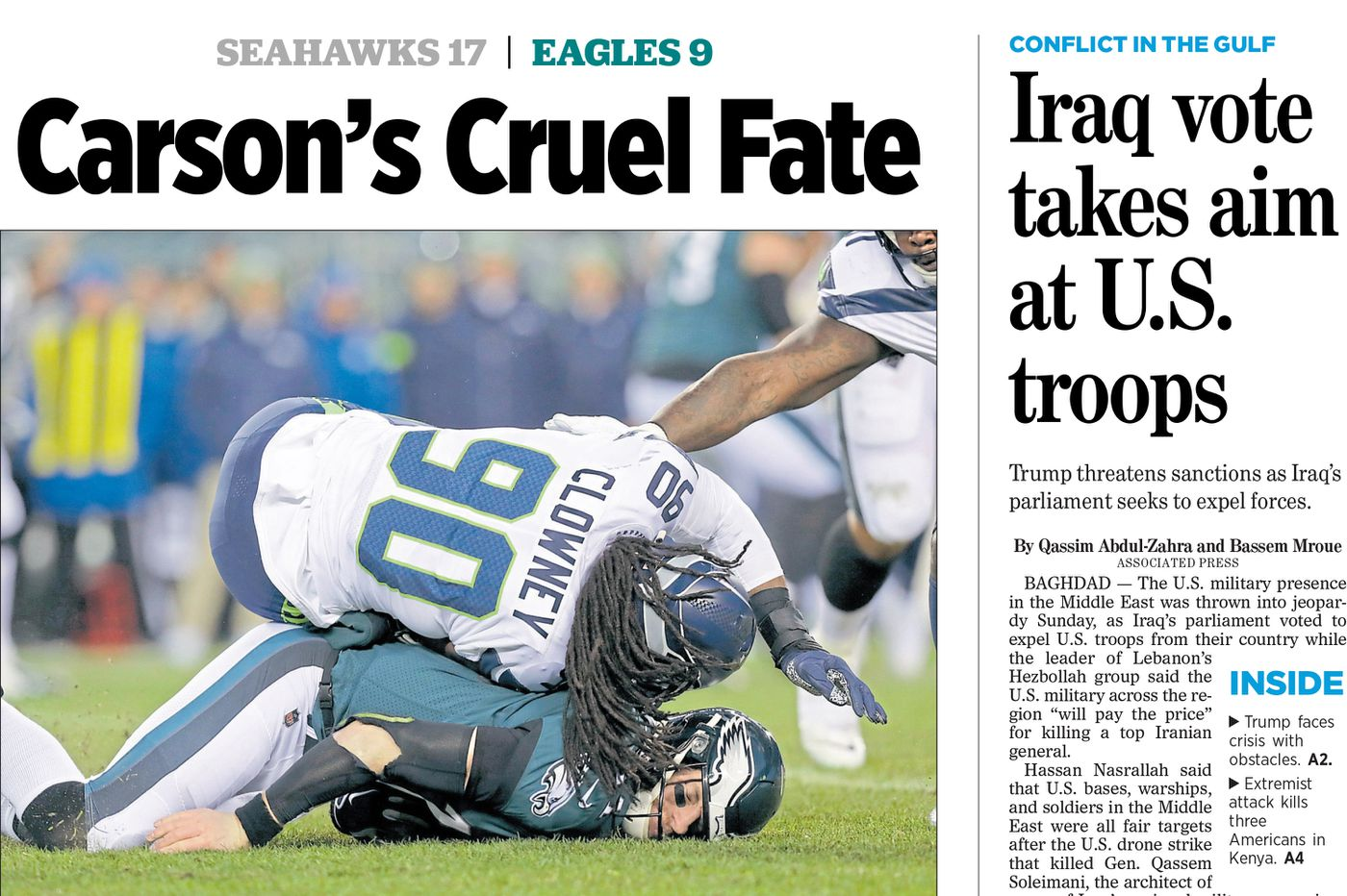 'Carson's Cruel Fate': The Inquirer and Daily News covers on the Eagles' NFL playoffs loss to the Seahawks