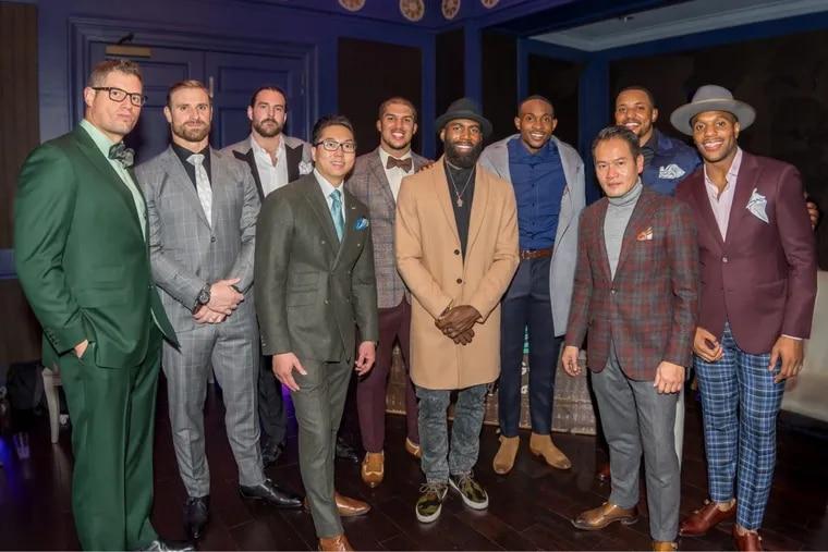 from left to right, Brent Celek, Chris Long, Todd Herremans, Rob Fung, Trey Burton, Malcolm Jenkins, Alshon Jeffery, J Najee Goode, Tung To, Rodney McLeod