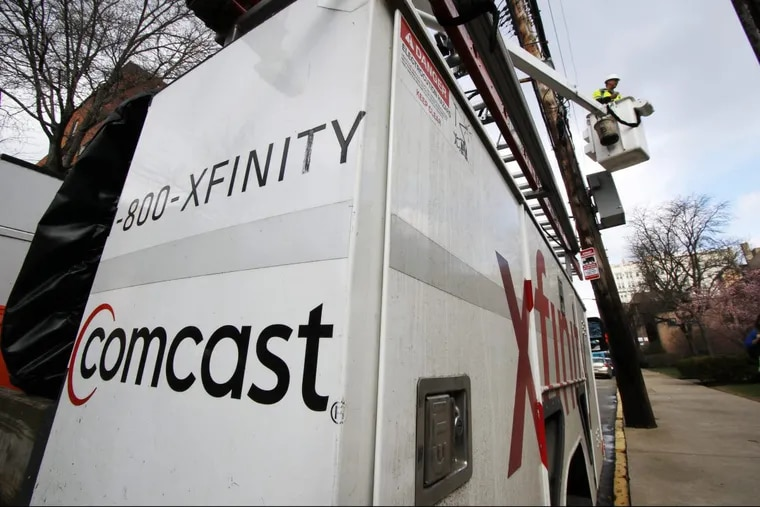 A Comcast truck works in Pittsburgh in March.