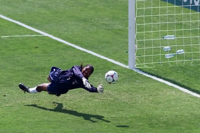 Briana Scurry's most famous save for the U.S. women's soccer team: denying a penalty kick by China's Ying Liu in the 1999 World Cup final at the Rose Bowl.