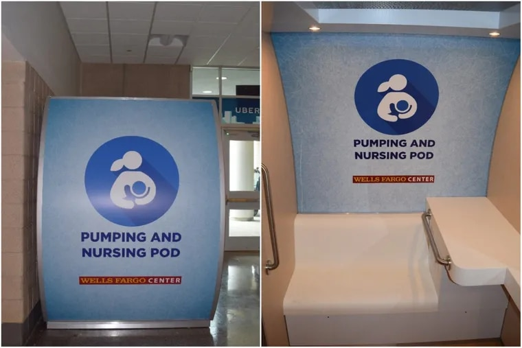 Left: The outside of the Mamava breast-feeding pod at the Wells Fargo Center. Right: The inside of the pod. The Wells Fargo Center is unveiling the mechanism today.