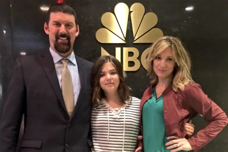 Kari, Tom and Emily Whitehead at NBC to talk about receiving a gene therapy approved by the FDA on Wednesday.