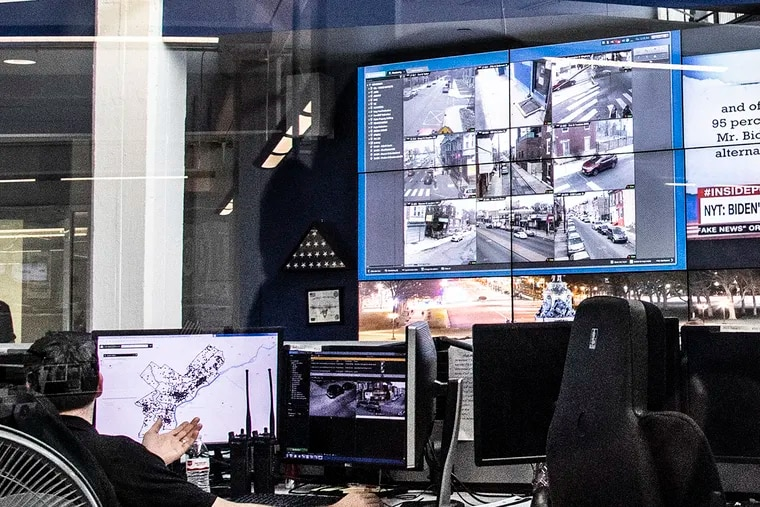 The real time crime command center is shown, in the Anti-Terrorism unit building in South Philadelphia.