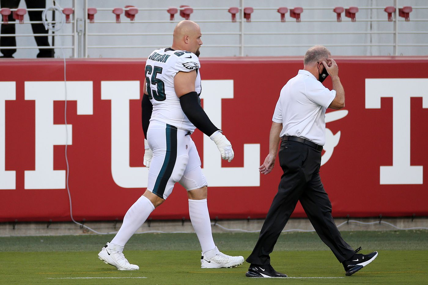 Doug Pederson declines comment on Lane Johnson's second opinion; Eagles tackle didn't practice Wednesday
