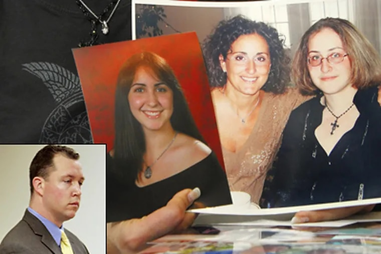 New Jersey state trooper Robert Higbee (inset) was cleared of all charges in the death of sisters Christina Becker, in the photo at left, and Jacqueline Becker, at right in the other photo, in Upper Township, N.J. (AP Photo/Mary Godleski,file)