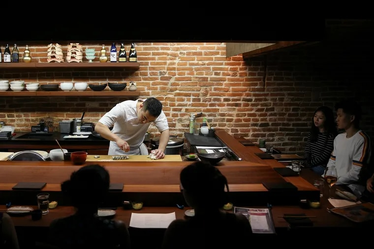 Chef and co-owner Jesse Ito prepares nigiri for the nightly omakase at Royal Sushi & Izakaya, 780 S. Second Street.