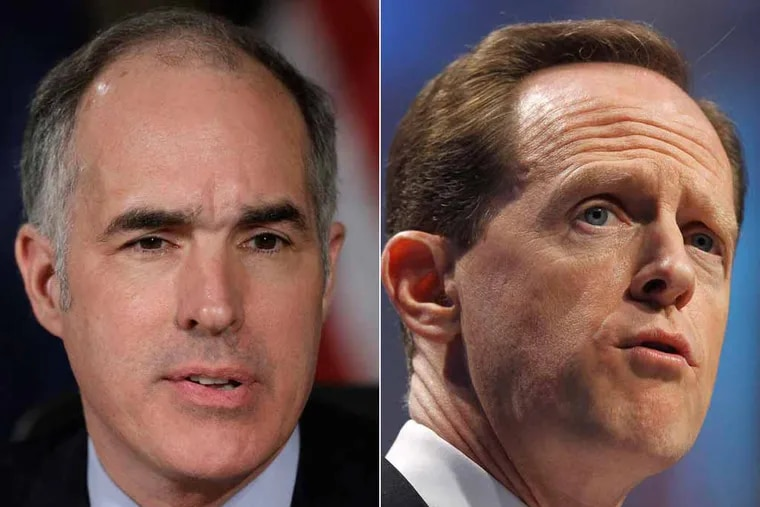 Sens. Bob Casey, left, and Pat Toomey have joined to sponsor legislation that would impose tough legislation on poorly performing nursing homes.