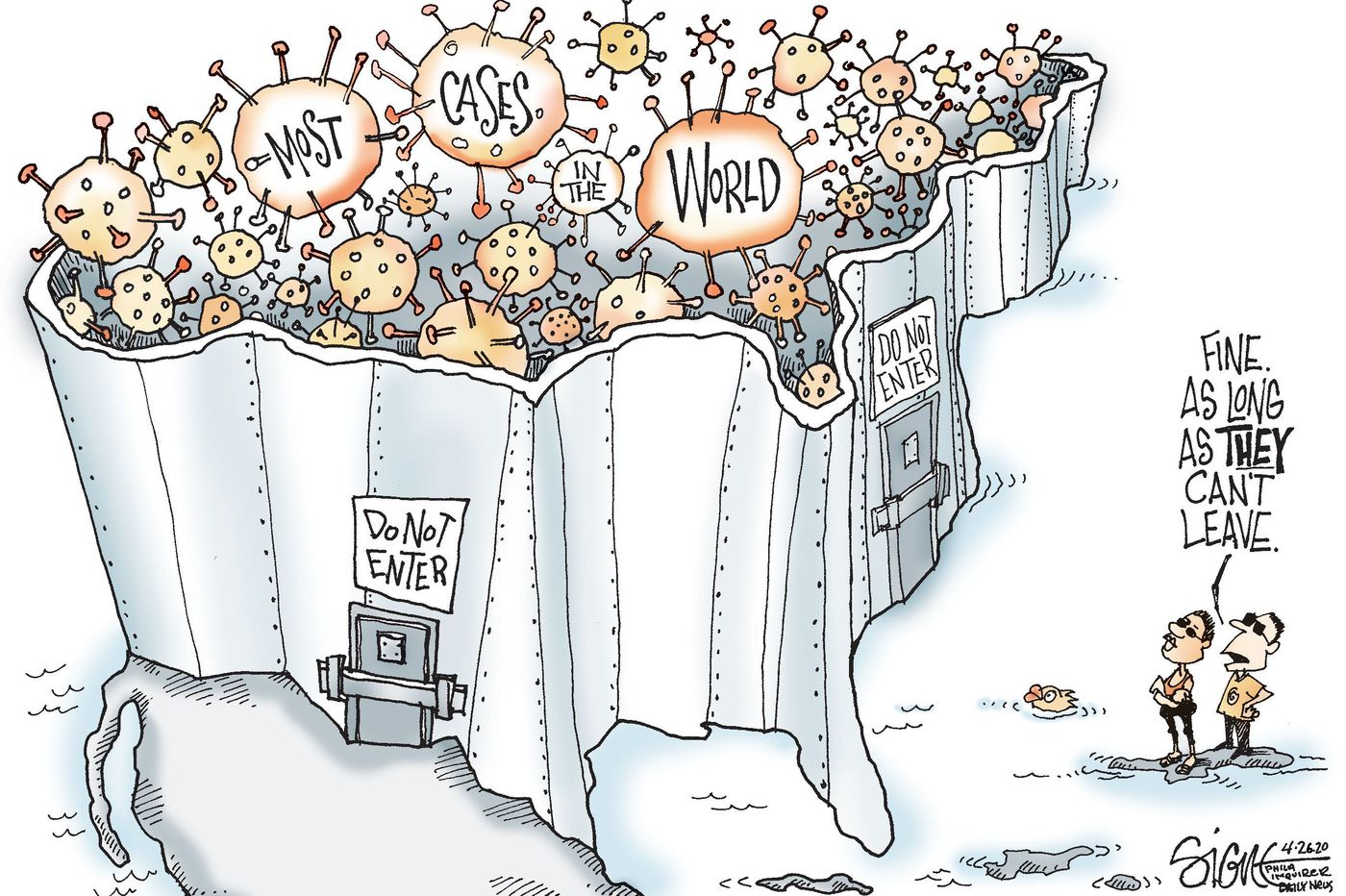 Political Cartoon: Walling in the problem: US