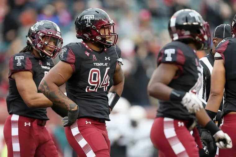 Temple defensive lineman Jullian Taylor (94) had a career-high 4.5 tackles for loss in Saturday's home loss to Central Florida. Nov 18, 2017. TIM TAI / Staff Photographer