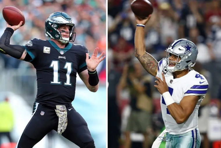 Eagles quarterback Carson Wentz (left) and Dallas Cowboys quarterback Dak Prescott will take the same field for the second time in their young careers this Sunday.