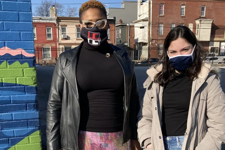 Crystal Edwards (left), principal of the Willian D. Kelley School in Philadelphia's Brewerytown neighborhood, and Jefferson University architecture student Emily Potenza are working together to rethink how the school property is used.