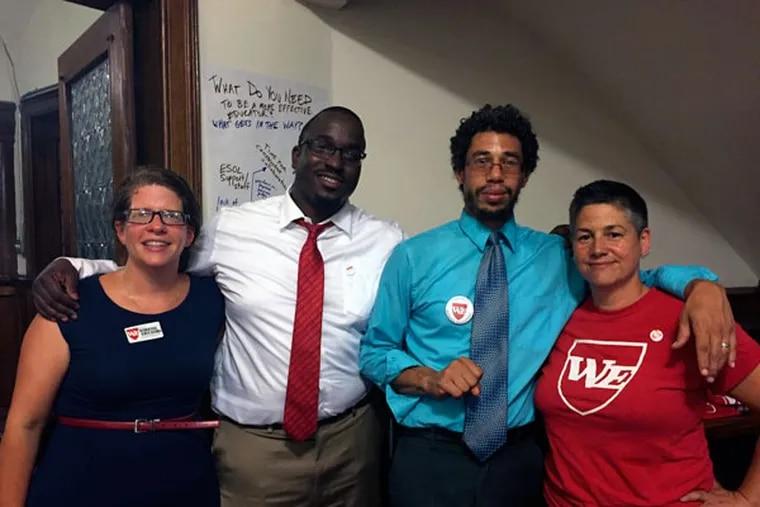 Members of the Caucus of Working Educators (from left): Amy Roat, Yaasiyn Muhammad, Ismael Jimenez and Kelley Collings. (REGINA MEDINA/DAILY NEWS STAFF)