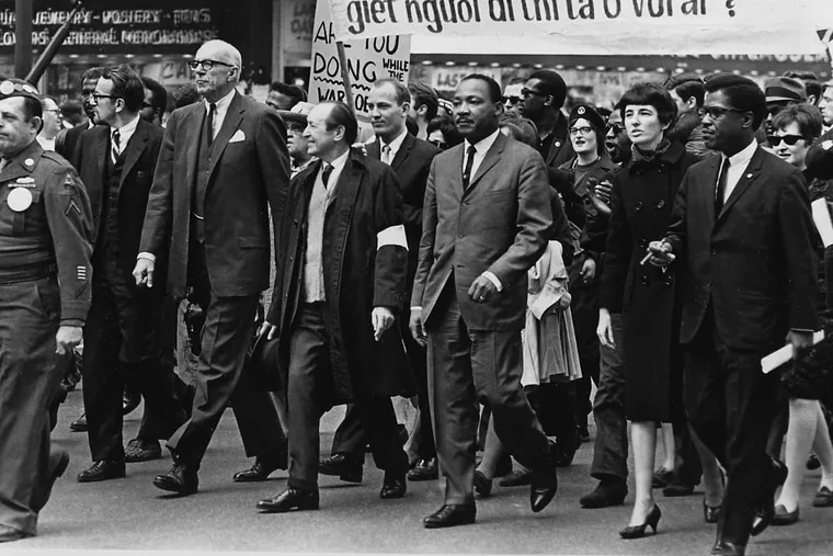 The Rev. Dr. Martin Luther King Jr. (third from right) marching against the Vietnam War in March 1967 in Chicago.