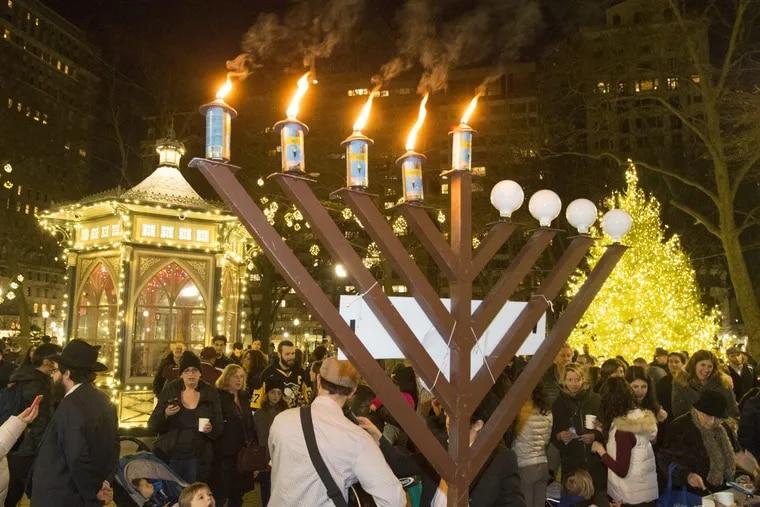 The menorah in Rittenhouse Square for Hanukkah last year.
