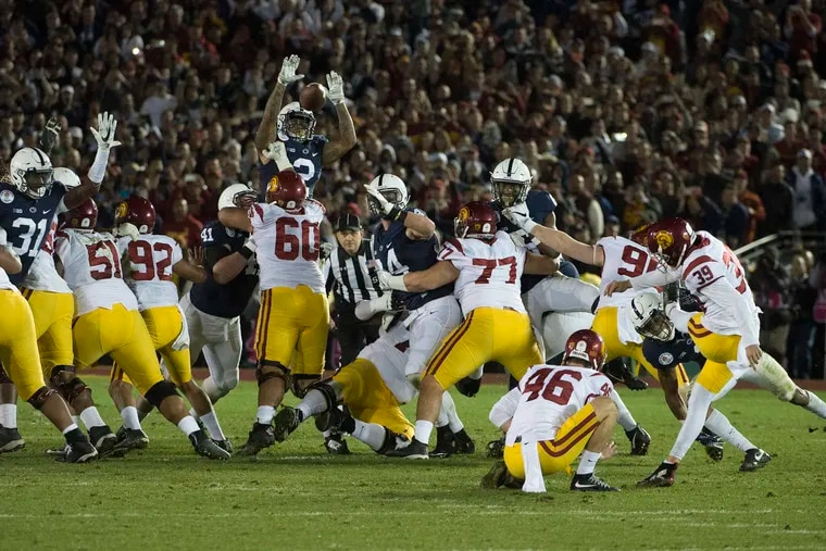 USC kicker Matt Boermeester kicks the game-winning field as time expires in the 103rd Rose Bowl Game January 2, 2017.  USC beat Penn State 52-49.