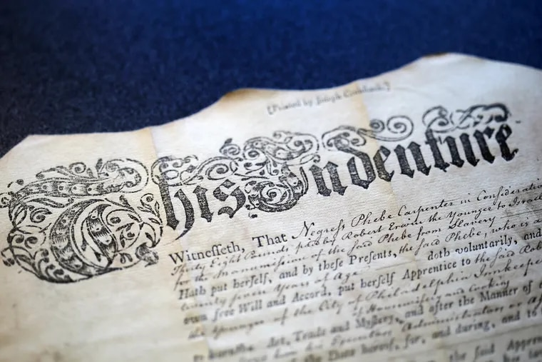 The indenture document for Phebe Carpenter, dated April 30, 1793, from the Pennsylvania Abolition Society papers at the Historical Society of Pennsylvania in Philadelphia.