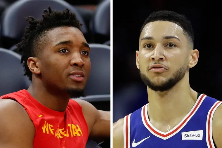Utah Jazz rookie Donovan Mitchell (left) doesn't think Sixers' Ben Simmons should be eligible for Rookie of the Year award this season.