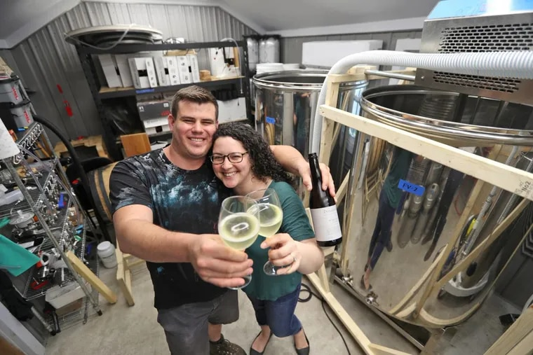 Brian and Olga Dressler in the cidery at their Downingtown home.