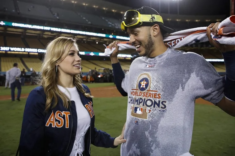 Houston Astros star shortstop Carlos Correa proposed to his girlfriend, Daniella Rodriguez (left), after winning the World Series over the Los Angeles Dodgers.