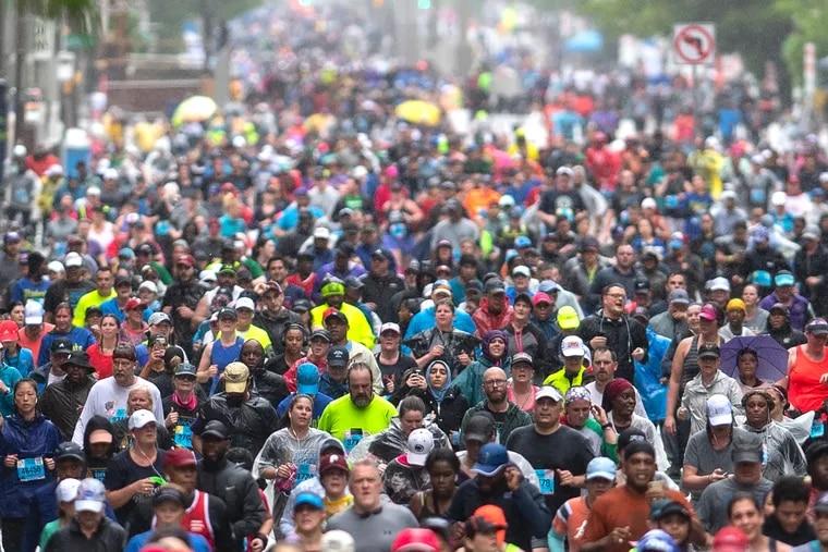 Runners participate in the Blue Cross Broad Street Run in 2019.
