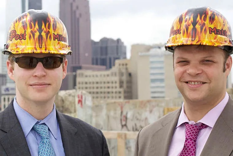 Developers Michael (left) and Matthew Pestronk have employed a combination of union and nonunion labor on the job. (Photo by Peter Woodall, courtesy of Hidden City Daily)