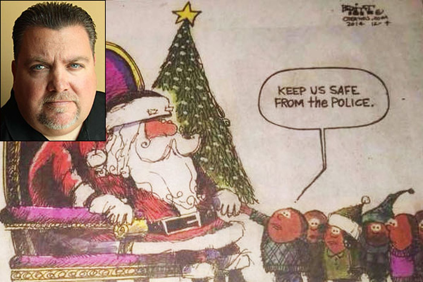 Cartoon of kids asking Santa to 'Keep us safe from the police' draws ire