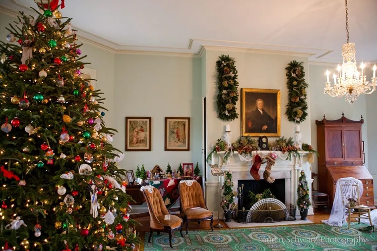 Laurel Hill Mansion, one of six Historic Houses of Fairmount Park, decorated for the holiday season