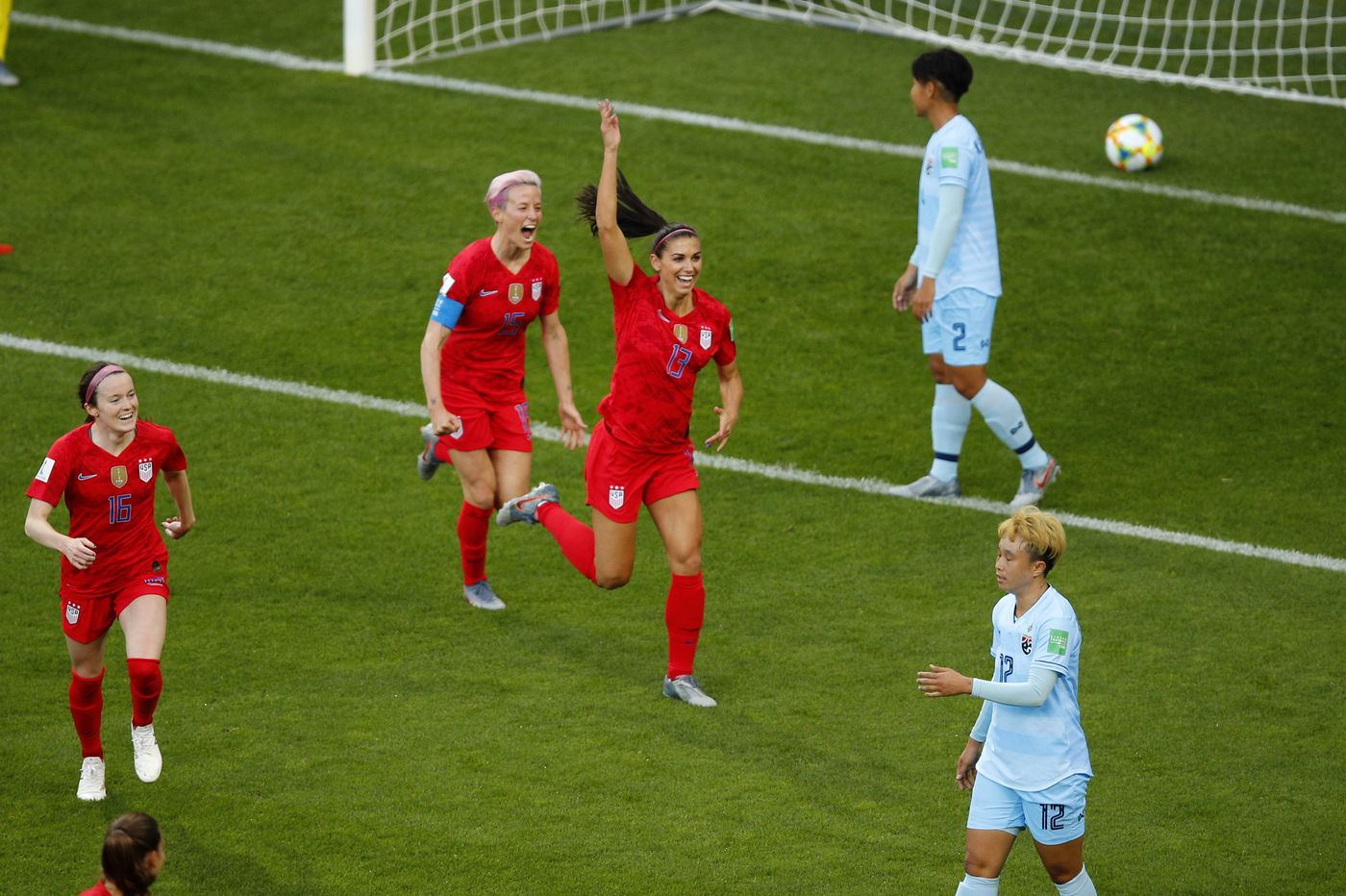 Alex Morgan's five goals lead USWNT's World Cup record 13-0 rout of Thailand
