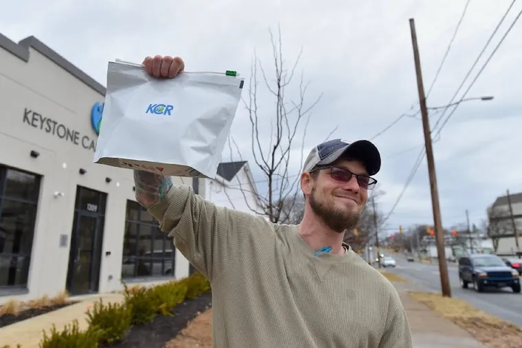 Josh Lazarus, of York, bought $550 worth of medical marijuana products on the first day of business at Keystone Canna Remedies in Bethlehem Pa..