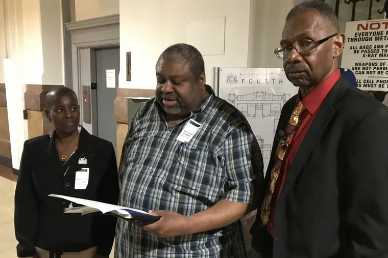 Yvonne Florence, a volunteer with American Cancer Society Cancer Action Network (ACS CAN), Mark Harrell,Southwest Community Development Corporation, and Rev. Jesse Brown, of the Ban Menthol Cigarettes Campaign, want sales of all flavored tobacco products be banned in Philadelphia.