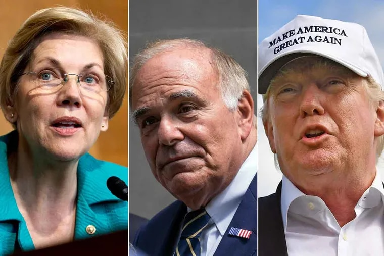 Sen. Elizabeth Warren (from left), former Pennsylvania Gov. Ed Rendell and Republican presidential candidate Donald Trump.
