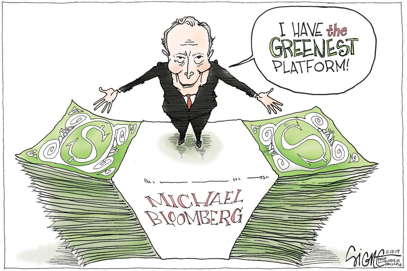 Political Cartoon: Michael Bloomberg's green credentials